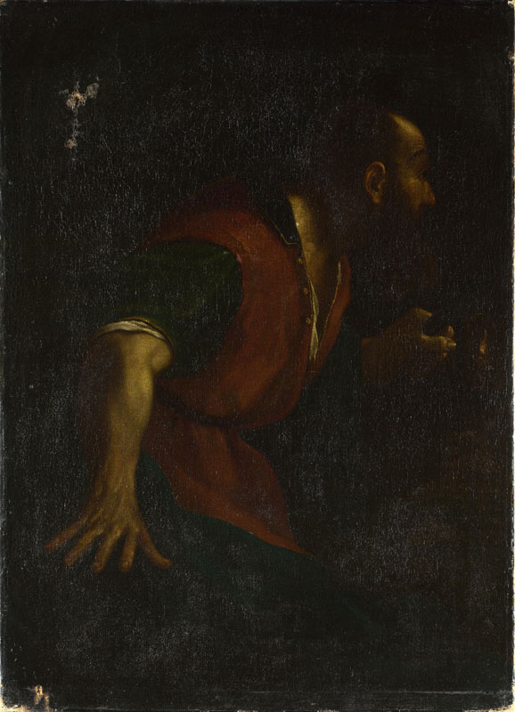 After Guercino - A Bearded Man holding a Lamp