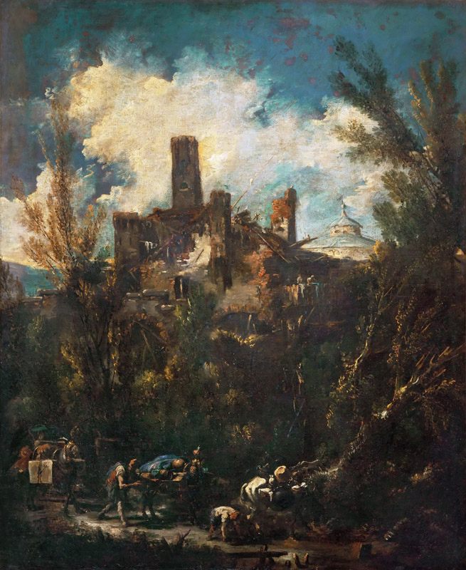 Alessandro Magnasco -- The Muleteer, or Landscape with Castle