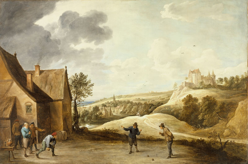 David Teniers the Younger - Landscape with Peasants Playing Bowls Outside an Inn