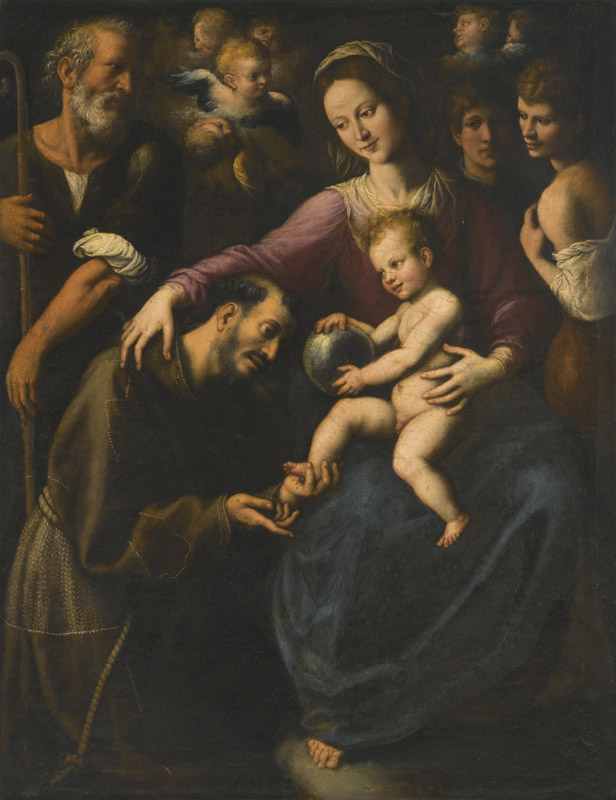 FABRIZIO SANTAFEDE-THE HOLY FAMILY WITH SAINT FRANCIS