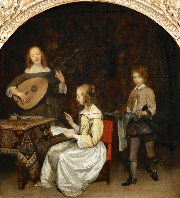 Gerard Terborch II -- The concert- singer and theorbe lute player
