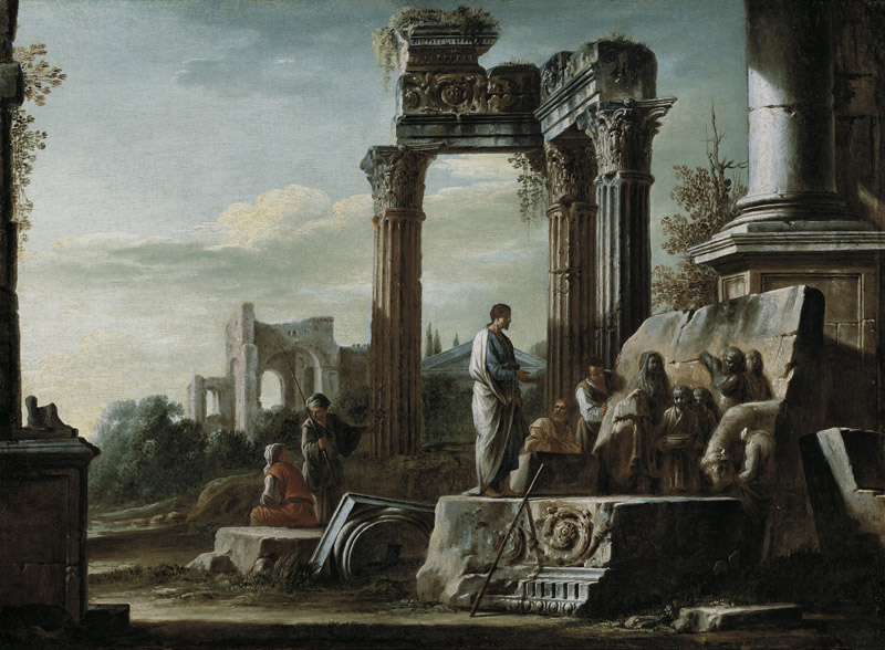 Giovanni Ghisolfi - Roman Ruins with the Three Columns of the Temple of Vespasian