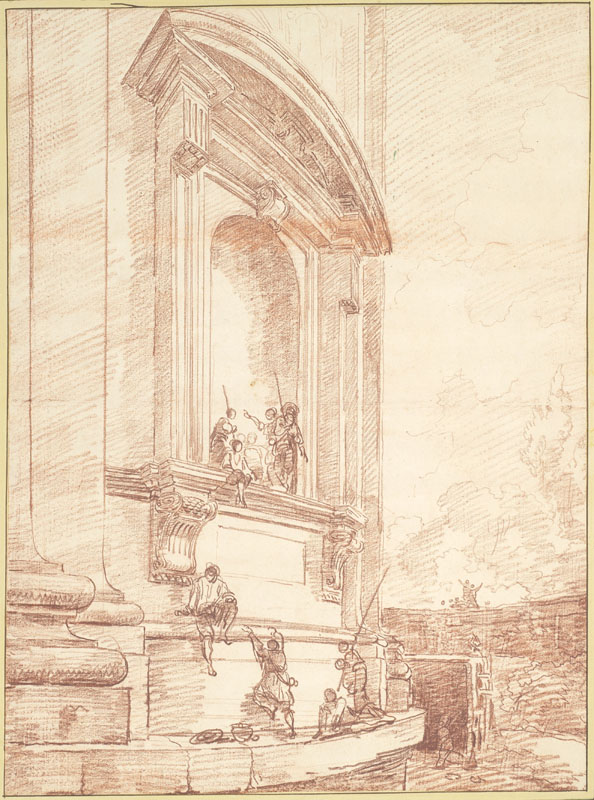 Hubert Robert--Figures in One of Michelangelo Niches