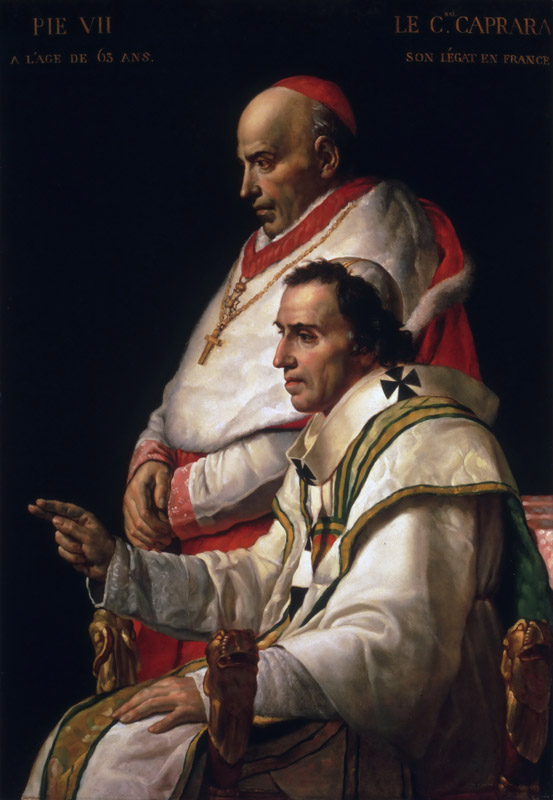 Jacques-Louis David, French, 1748-1825 -- Portrait of Pope Pius VII and Cardinal Caprara