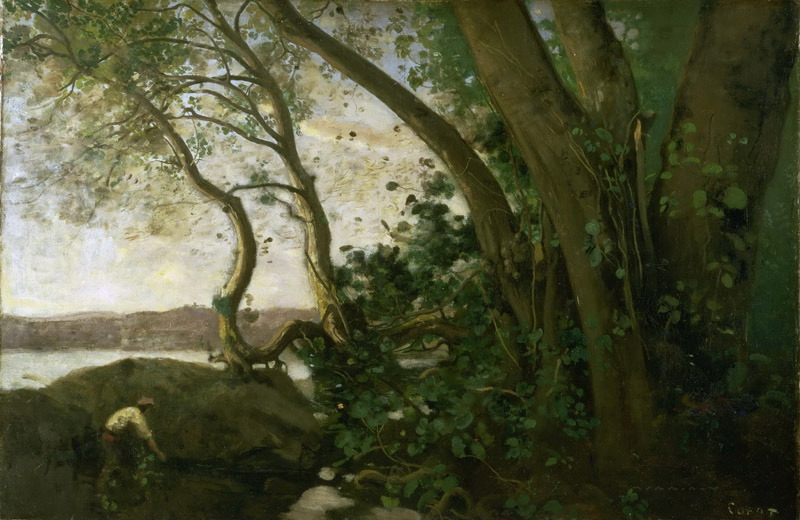 Jean-Baptiste-Camille Corot, French, 1796-1875 -- Edge of Lake Nemi