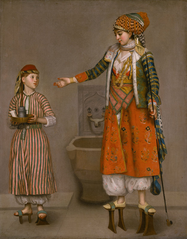 Jean-Etienne Liotard - A Frankish Woman and Her Servant, ca. 1750