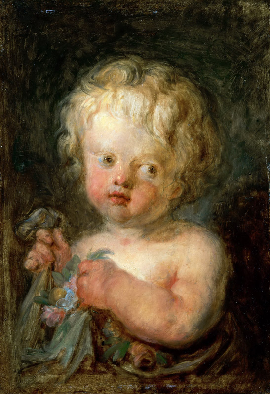 Jean-Honore Fragonard -- Child with Flowers