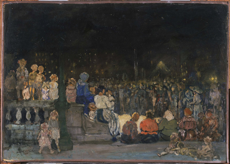 Jerome Myers (1867-1940)-Band Concert Night