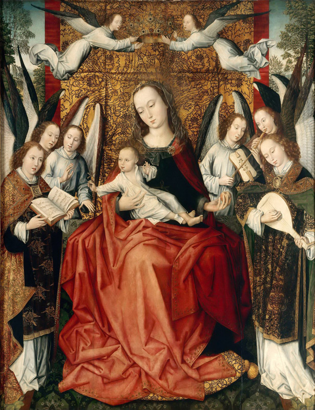 Master of the Embroidered Foliage -- The Virgin and Child surrounded by angels