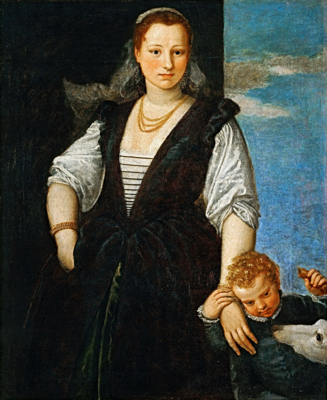 Paolo Veronese -- Portrait of a Woman with a Child and a Dog