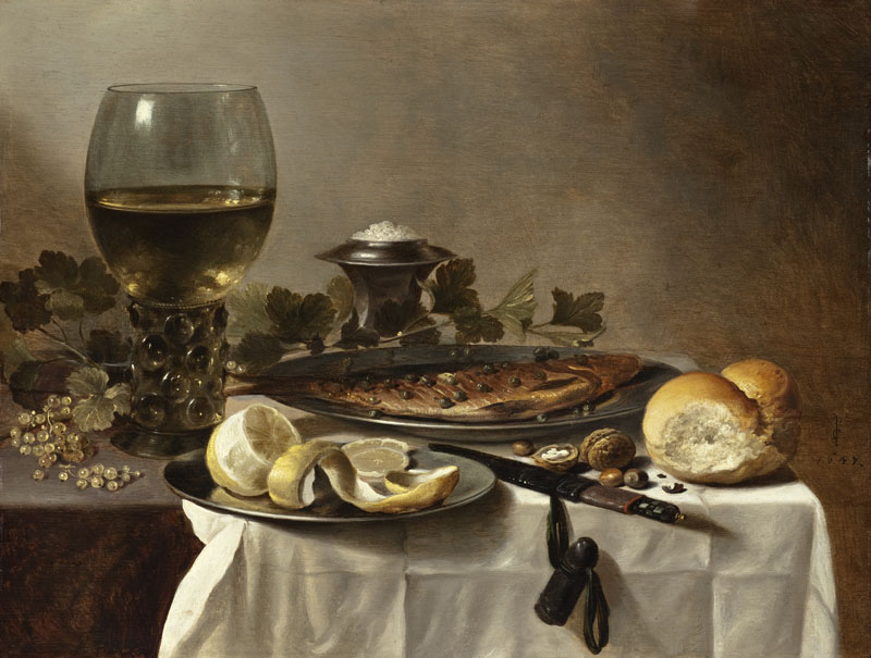 Pieter Claesz III - Still Life with Herring, Wine and Bread
