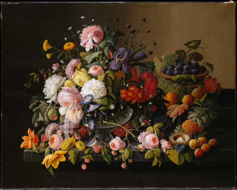 Severin Roesen--Still Life Flowers and Fruit