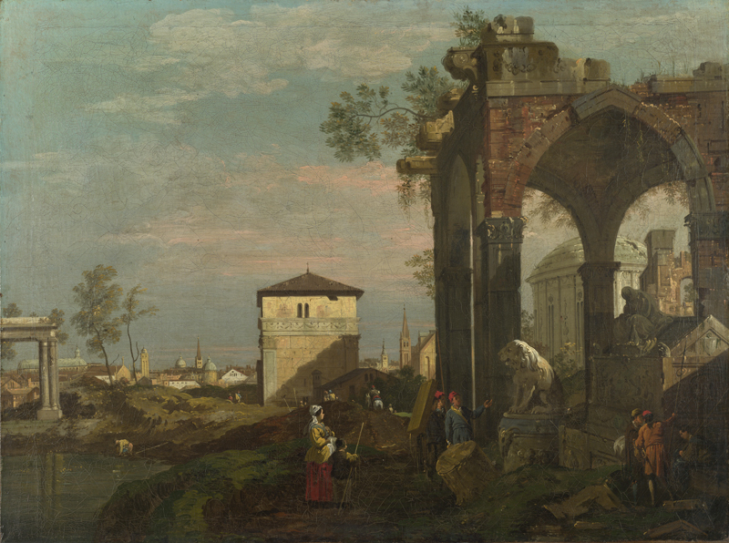 Style of Bernardo Bellotto - A Caprice Landscape with Ruins