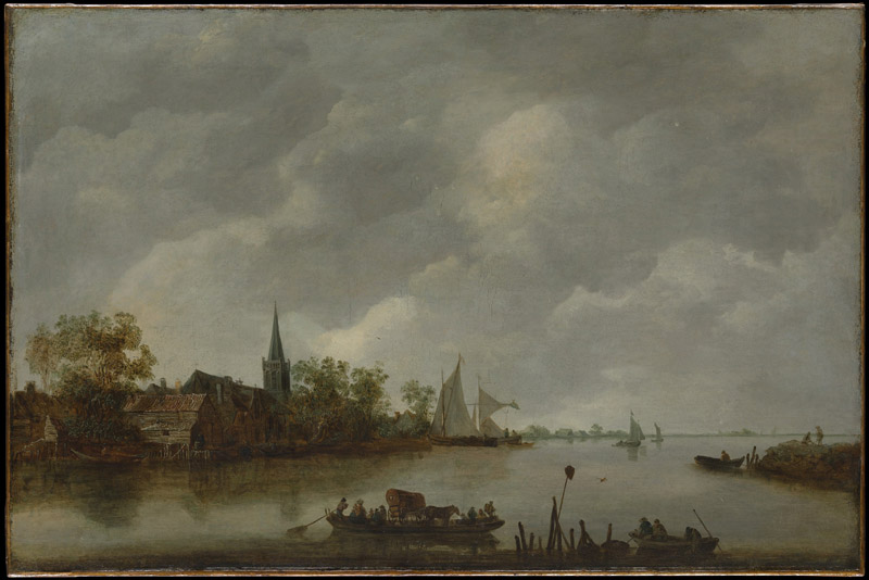 Style of Jan van Goyen--River View with a Village Church