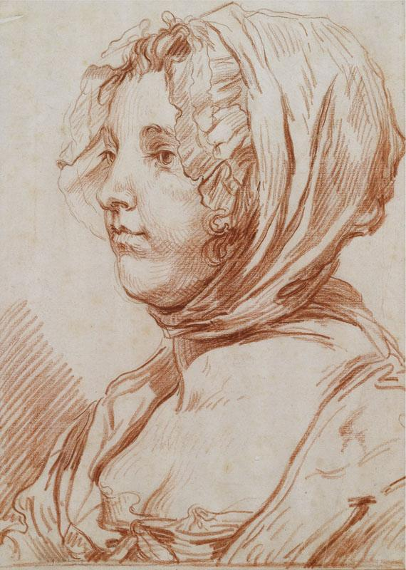 A PORTRAIT OF A WOMAN WEARING A BONNET