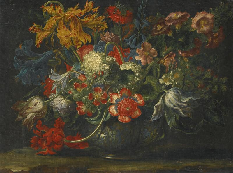 ANDREA SCACCIA-A STILL LIFE OF FLOWERS IN A BLUE