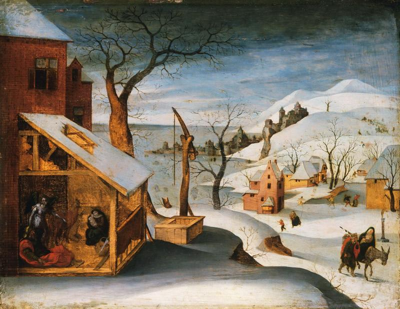 Abel Grimmer, Flemish active 1592-1619 -- Winter Landscape with the Angel Appearing to Saint Joseph, the Massacre of the Innocents