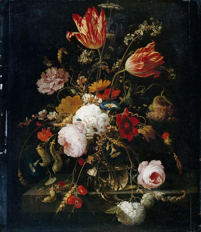 Abraham Mignon -- Flowers in a crystal vase, with pea branch and snail