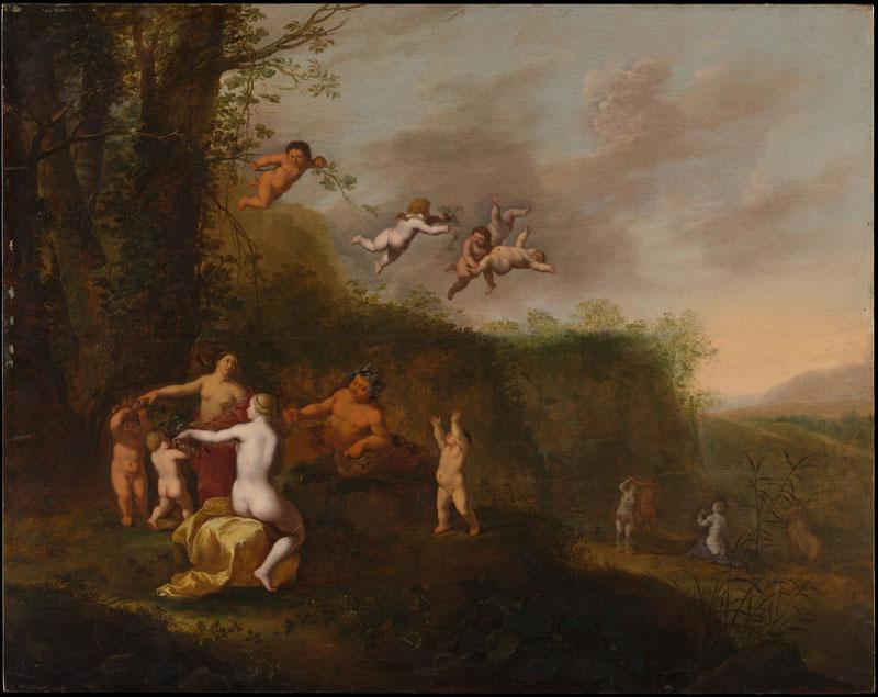 Abraham van Cuylenborch--Bacchus and Nymphs in a Landscape