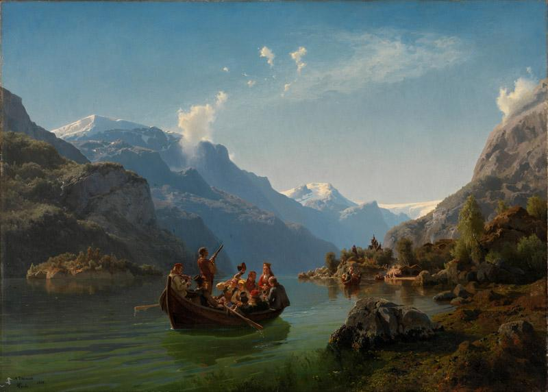 Adolph Tidemand and Hans Gude - Bridal Procession on the Hardangerfjord