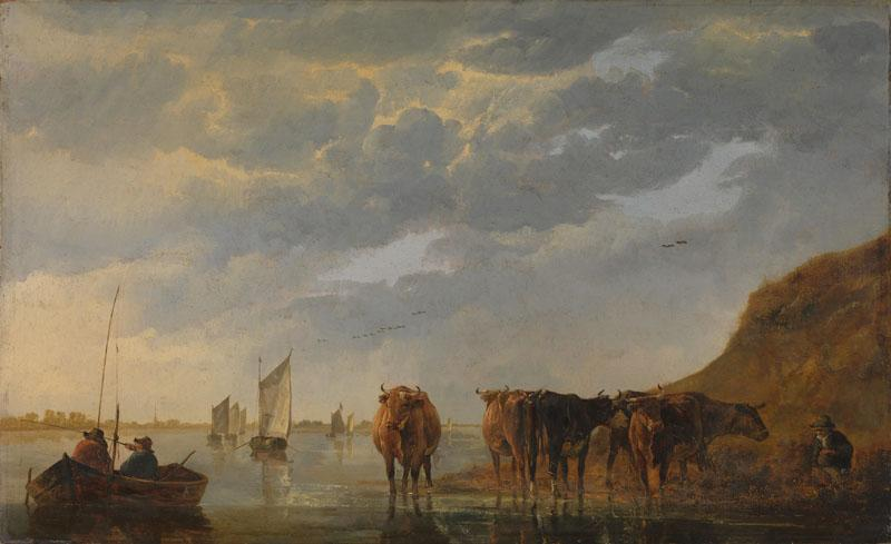 Aelbert Cuyp - A Herdsman with Five Cows by a River