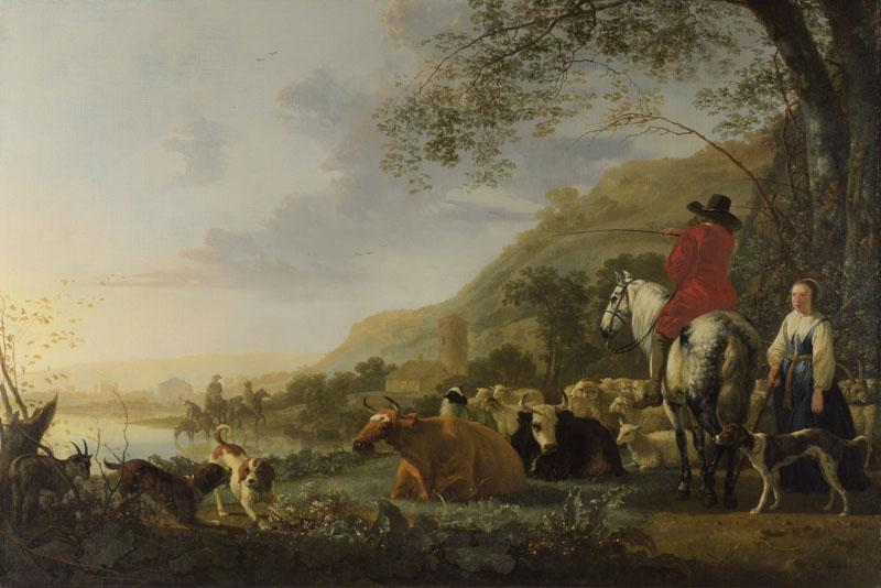 Aelbert Cuyp - A Hilly Landscape with Figures