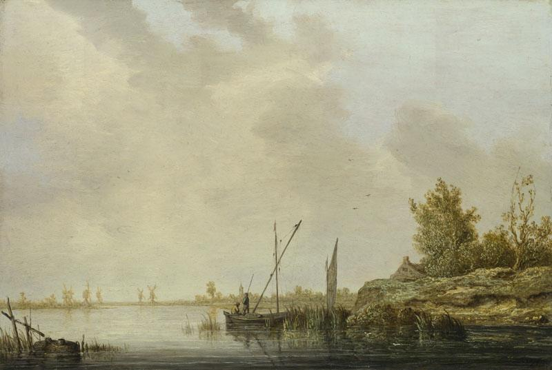 Aelbert Cuyp - A River Scene with Distant Windmills