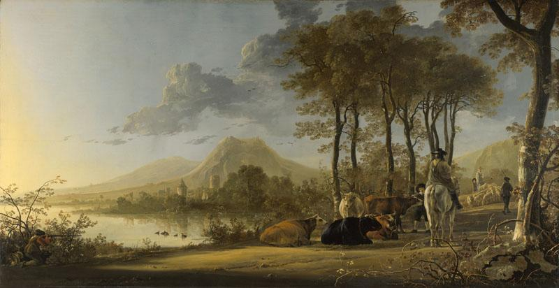 Aelbert Cuyp - River Landscape with Horseman and Peasants