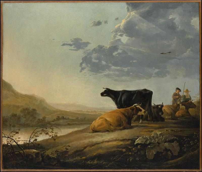 Aelbert Cuyp--Young Herdsmen with Cows