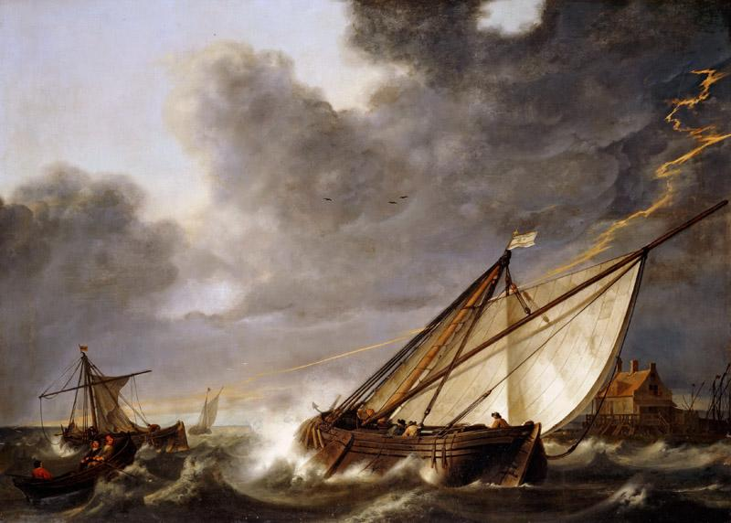 Aelbert Cuyp-Boats Running Before a Storm