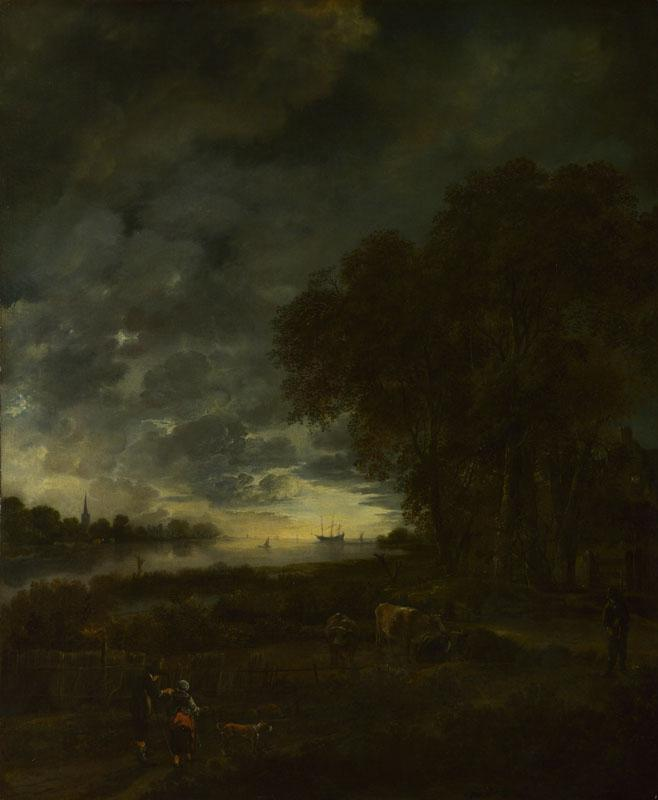 Aert van der Neer - A Landscape with a River at Evening
