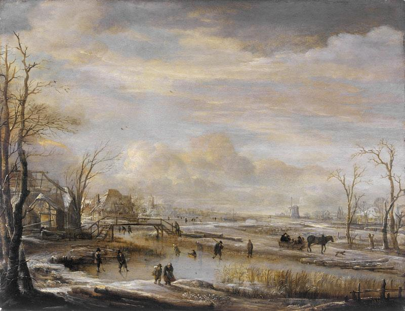 Aert van der Neer - Frozen River with a Footbridge