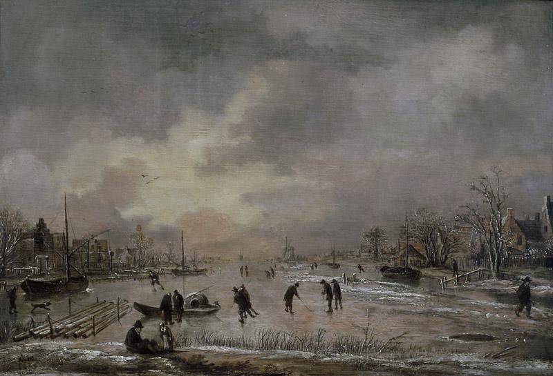 Aert van der Neer - Winter Landscape with Houses