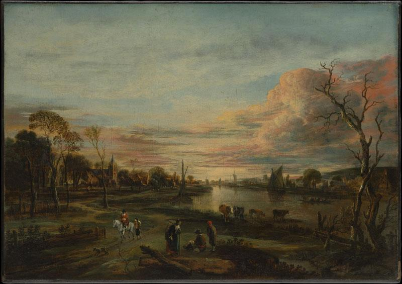 Aert van der Neer--Landscape at Sunset
