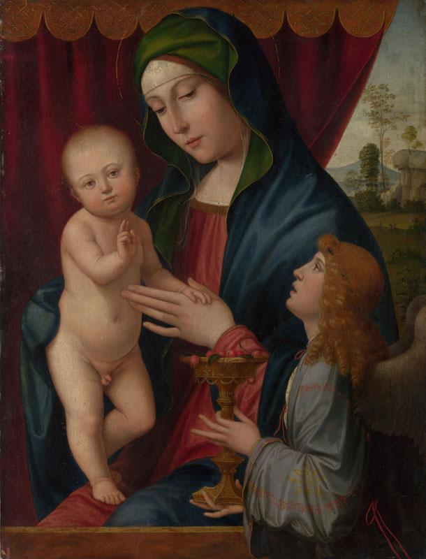 After Francesco Francia - The Virgin and Child with an Angel