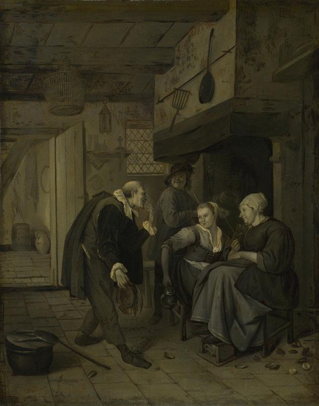 After Jan Steen - An Itinerant Musician saluting Two Women in a Kitchen