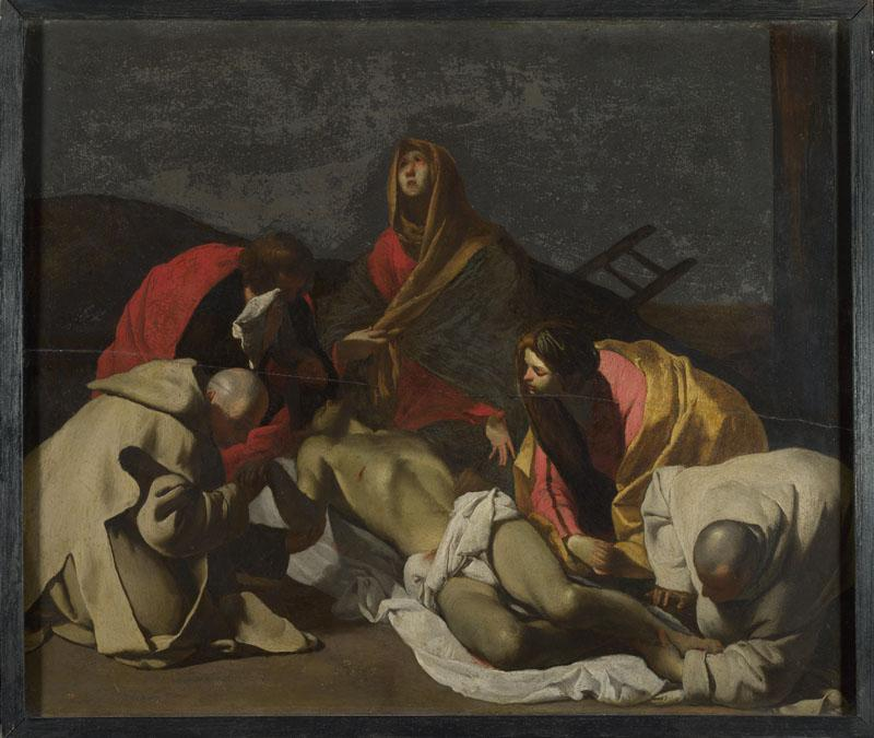 After Massimo Stanzione - Monks and Holy Women mourning over the Dead Christ