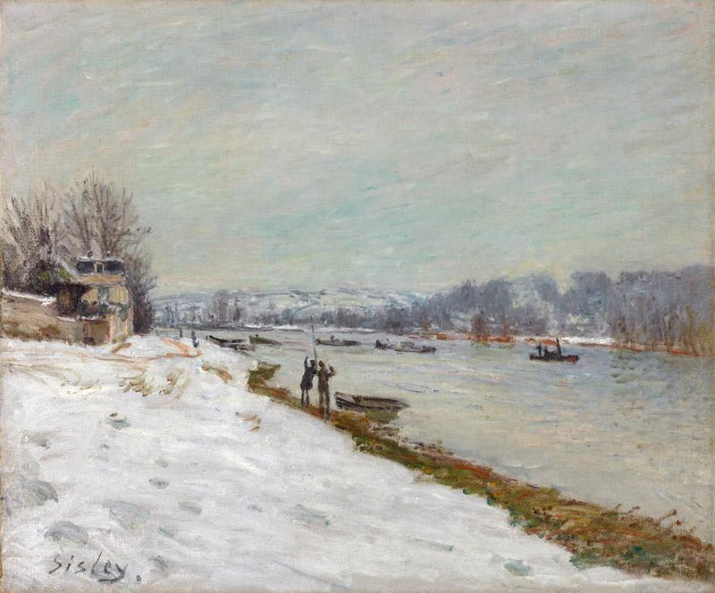 Alfred Sisley - The Embankment at Billancourt - Snow, 1879