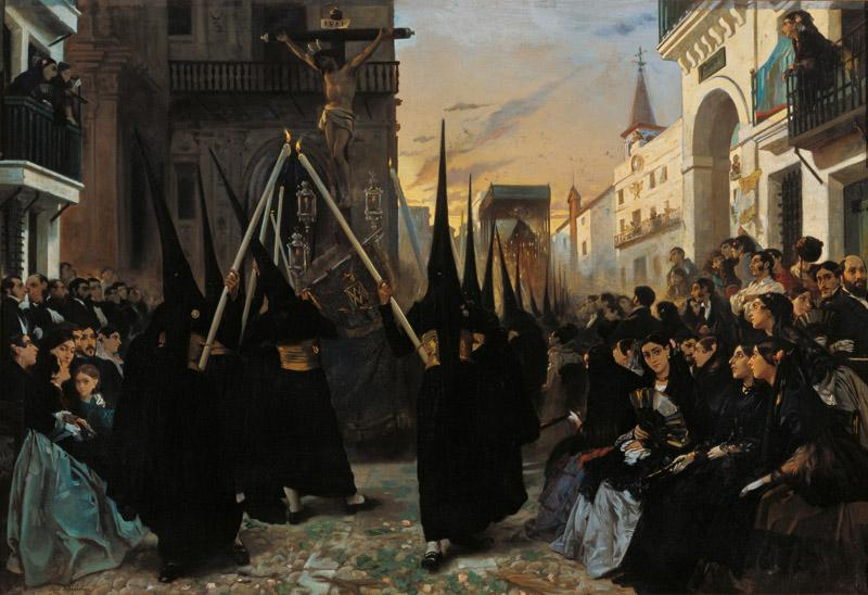 Alfred Dehodencq A Confraternity in Procession along Calle Genova