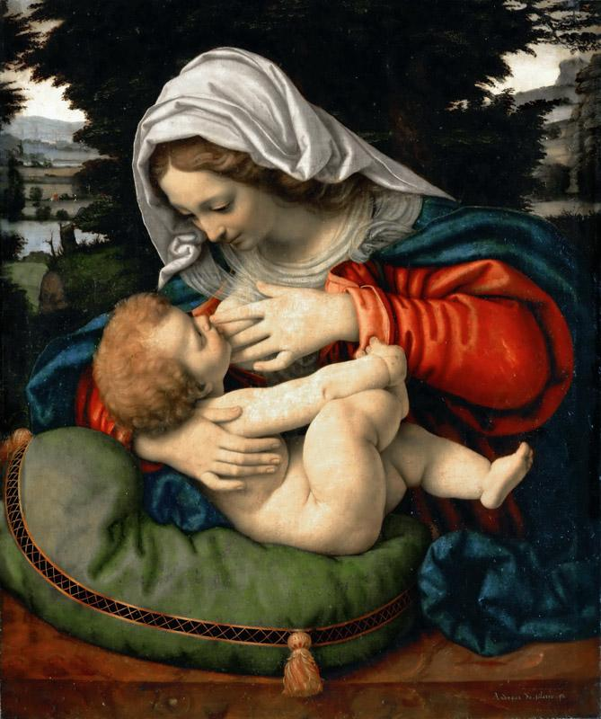 Andrea Solario -- Madonna and Child with Green Cushion
