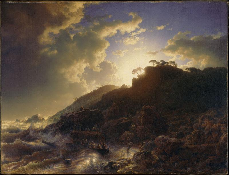 Andreas Achenbach--Sunset after a Storm on the Coast of Sicily