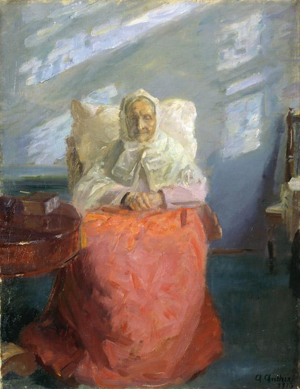 Anna Ancher - Mrs Ane Brondum in the blue room