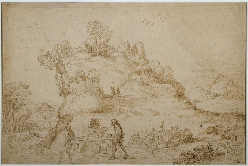 Annibale Carracci (1560-1609)-Landscape and Figures