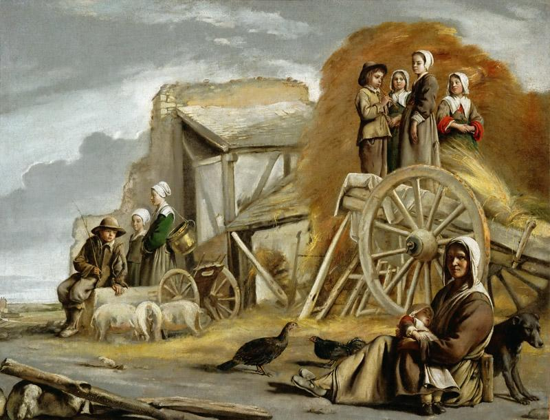 Antoine Le Nain (c. 1588-1648), Louis Le Nain (c. 1593-1648) or Mathieu Le Nain (1607-1677) -- The Haycart