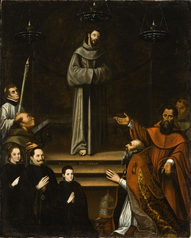 Antonio Montufar - Saint Francis of Assisi Appearing before Pope Nicholas V, with Donors