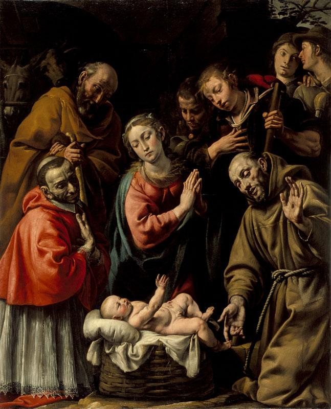 Antonio d Enrico - Adoration of the Shepherds with Saints Francis and Carlo Borromeo
