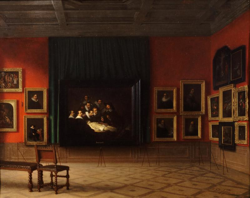 Antoon Francois Heijligers - Interior of the Rembrandt Room in the Mauritshuis