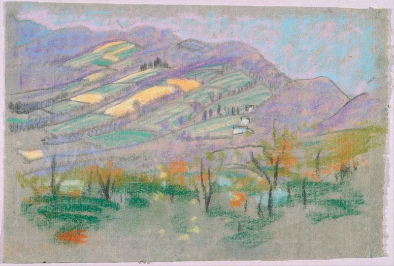 Arthur Bowen Davies (1862-1928)-Landscape with purple mountains from A.B. Davies book, edition