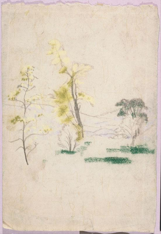 Arthur Bowen Davies (1862-1928)-Landscape with three single trees from A.B