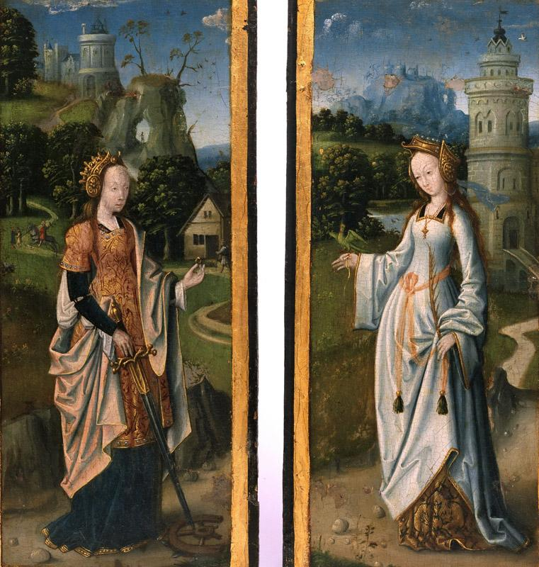 Artist-maker unknown, Netherlandish (active Antwerp) -- Saints Catherine of Alexandria and Barbara